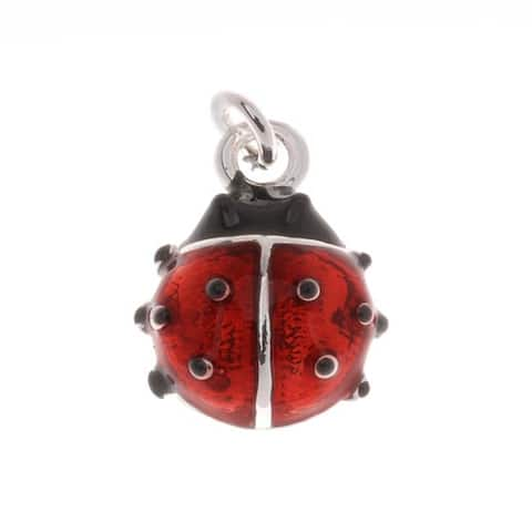 Silver Plated Red and Black Enamel Lady Bug Charm 14mm (1)