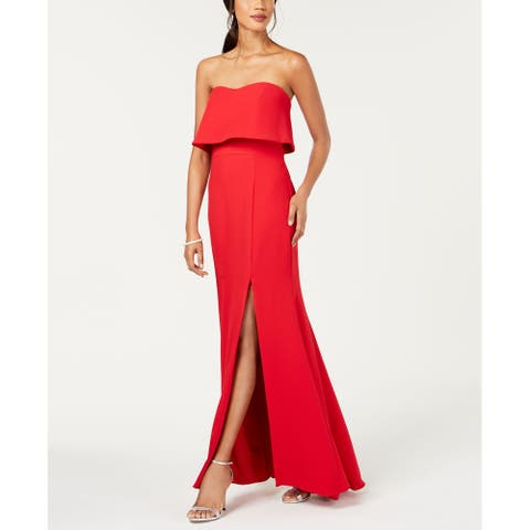 Xscape Women's Gown Lava Red Size 0 Strapless Popover Front-Slit