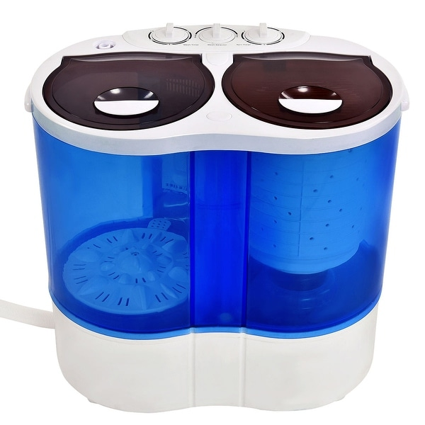 Costway Portable Mini Washing Machine Compact Twin Tub 15lb Washer Spin Spinner Furni White And
