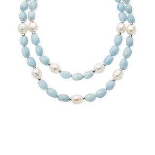 Honora Ringed Freshwater Pearl and Baroque Aqua Quartz Necklace with Sterling Silver Clasp