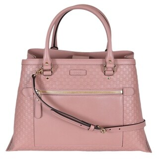 "Gucci Women's 510291 Pink Leather Micro GG Convertible Purse Handbag Tote - 15"" (at bottom)/11"" (at top) x 10"" x 7"""