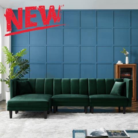 Reversible Sectional Sofa Sleeper With 2 Pillows Dark Green Velvet