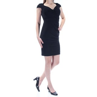 RALPH LAUREN $139 Womens New 1014 Black Gathered Cap Sleeve Dress 0 Petites B+B