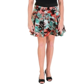 Aqua Womens Mini Printed Flare Skirt