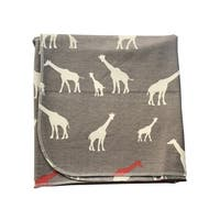 Sophia Sam Baby Gray Giraffe Pattern Organic Cotton Swaddle Blanket - One Size