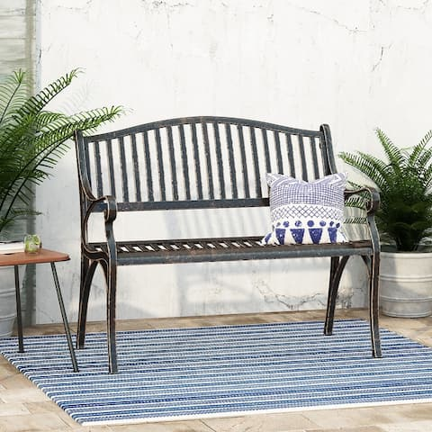 Kenzie Outdoor Traditional Cast Aluminum Bench by Christopher Knight Home