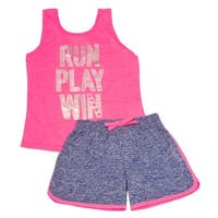"""Little Girls Pink """"Run Play Win"""" Print Tank Top 2 Pc Shorts Outfit"""