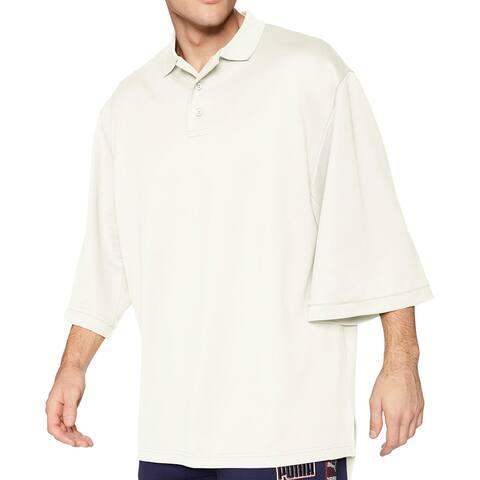Puma Mens Shirt White Ivory Size Medium M Fenty Oversize Polo Shirttail