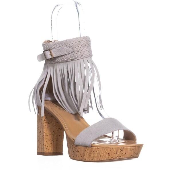 Nanette Nanette Lepore Vanessa Fringe Ankle Strap Sandals, Light Grey - 8.5 us