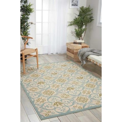 Nourison Caribbean Floral Geometric Indoor/Outdoor Area Rug