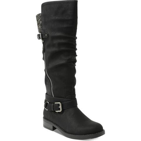 XOXO Womens Miles Riding Boots Faux Leather Tall - Black - 6 Medium (B,M)