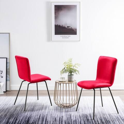 Art-Leon Modern Velvet Upholstered Dining Side Chairs with Black Legs (Set of 2)