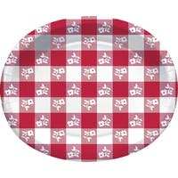 """Red and White Checked Design Floral Decorative Printed Oval Platter 12"""""""