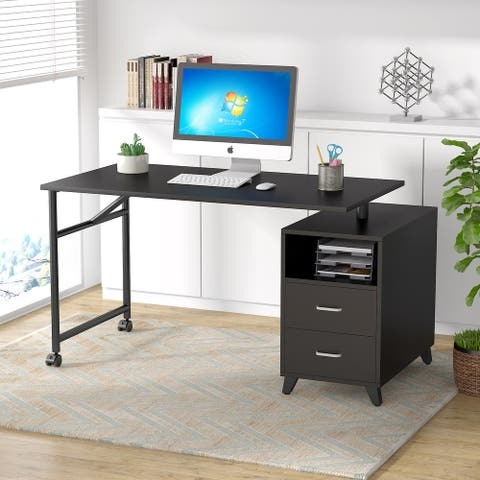 """Tribesigns 47"""" Modern Writing Desk with 2 drawers,360° Free Rotating"""