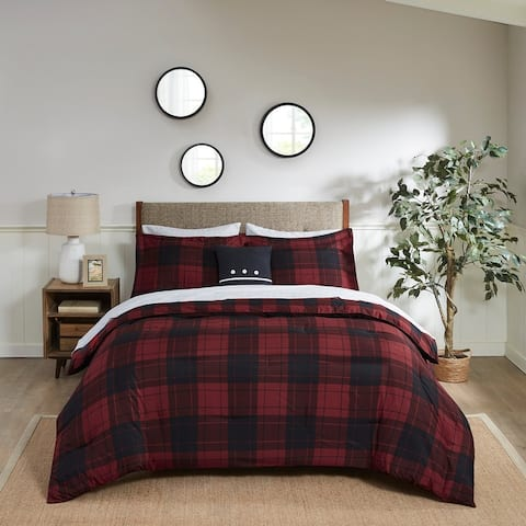 Madison Park Essentials Colebrook Red Plaid Reversible Complete Bedding Set