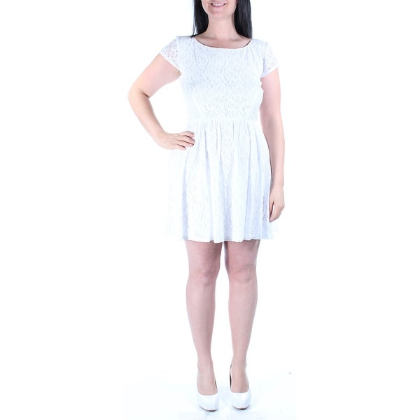 d34008d88b836c Shop B DARLIN Womens White Floral Short Sleeve Jewel Neck Above The Knee Fit  + Flare Dress Juniors Size: 13 - Free Shipping On Orders Over $45 -  Overstock - ...