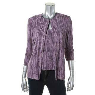 Alex Evenings Womens Textured Glitter Cardigan Top - S
