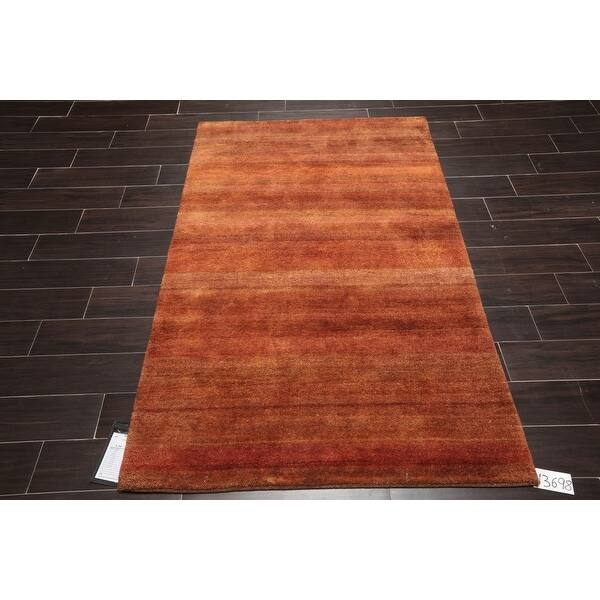Hand Knotted Gabbeh Burnt Orange Gold Persian Wool Modern Contemporary Oriental Area Rug 4x6 4 X 6 Overstock 32180562