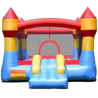 Gymax Inflatable Bounce House Castle Jumper Moonwalk Playhouse Slide Without Blower - as pic