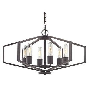 """Dolan Designs 1145 Hexagon 26"""" Wide 6 Light Cage Style Chandelier with Open Metal Frame"""