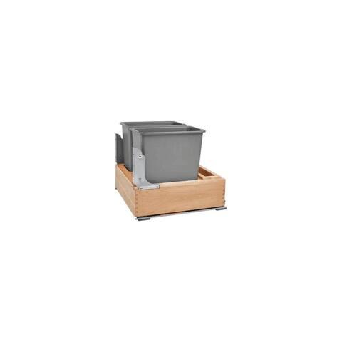 Rev-A-Shelf 4WC-24DM2-SC 4WC Bottom Mount Double Bin Trash Can with BLUMOTION Soft Close - 30 Quart Capacity - - Natural Maple