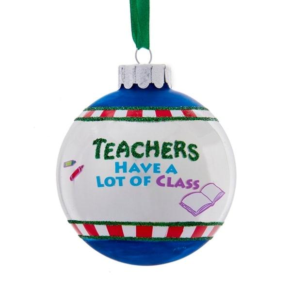 "3"" Glittered ""Teachers Have a Lot of Class"" Christmas Ball Ornament - green"