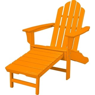 Hanover Outdoor HVLNA15TA All-Weather Contoured Adirondack Chair with Hideaway Ottoman- Tangerine