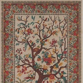 Handmade 100-percent Cotton Tree of Life Tapestry Tablecloth Bedspread Coverlet Beach Sheet Tan