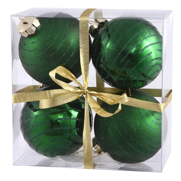 "3"" Emerald Ball w/Glitter Asst 4/Box"