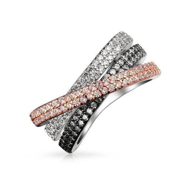 Tri Color Crossover Fashion Criss Cross Black White Pink Pave AAA CZ Statement Band Ring For Women Sliver Plated Brass