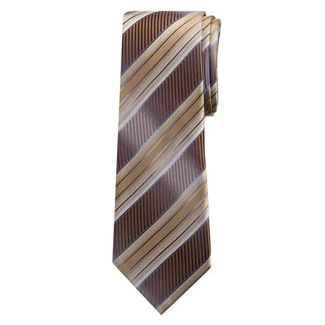 Marquis Men's Brown Stripes 3 1/4 Tie & Hanky Set TH100-024 - regular