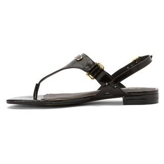 LAUREN by Ralph Lauren Womens Valinda Leather Open Toe Casual T-Strap Sandals