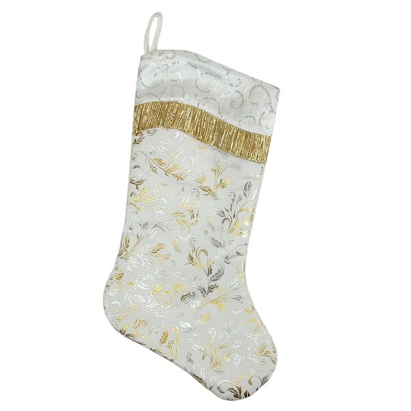 """20.5"""" White Satin with Silvery-Gold Flourish Christmas Stocking Sequin Cuff - Silver"""