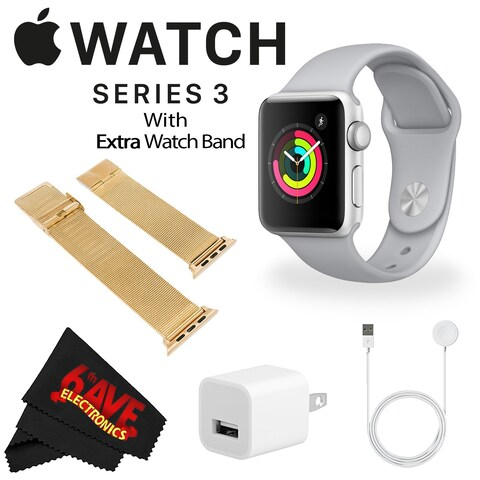 Apple Watch Series 3 38mm Smartwatch (GPS Only, Silver Aluminum Case, Fog Sport Band) + WATCH BAND ROSE GOLD MESH 38mm Bundle