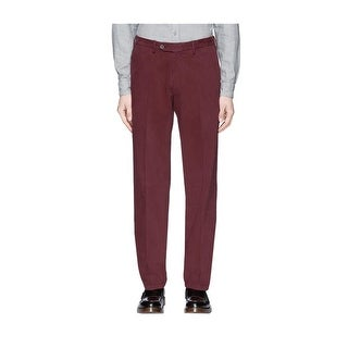 Canali Big and Tall Flat Front Five Pocket Stretch Pants 36W x 36L Wine Color