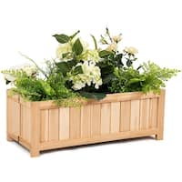 Costway Rectangle Wood Flower Planter Box Portable Raised Vegetable Patio Lawn Garden - as pic