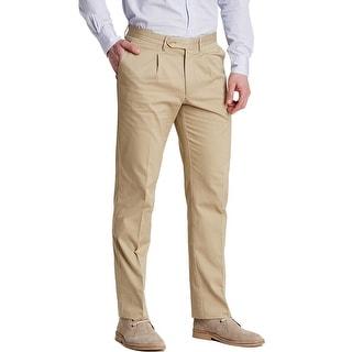 Man 1924 By Carlos Castillo Single Pleat Chinos Pants 36W x 32L Khaki Tan