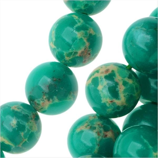 Impression Jasper Gemstone Beads, Round 8mm, 15 Inch Strand, Teal Green