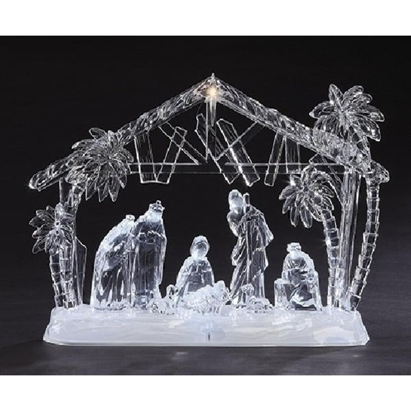 """14.5"""" Icy Crystal LED Lighted Holy Family in Manger Christmas Nativity Figure"""
