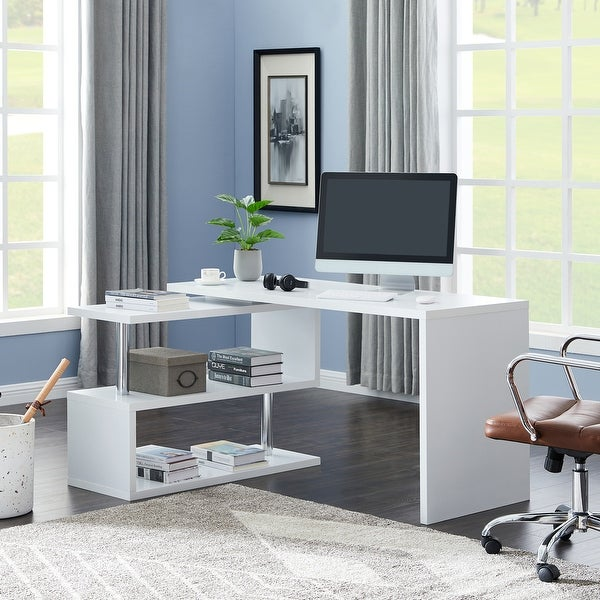 Contemporary Convertible L-shaped Corner Computer Office Desk 29.53'' H x 23.23'' W x 78.74'' D - White. Opens flyout.