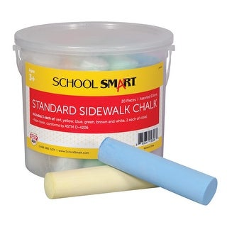 School Smart Non-Toxic Sidewalk Chalk, 4 L x 1 W in, Assorted Colors, Pack of 20