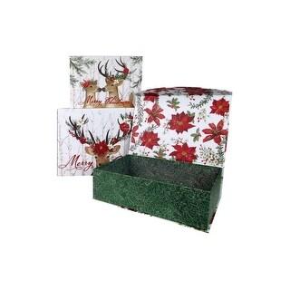 Punch Studio Nesting Box Flip Top Deer Cheer S/3