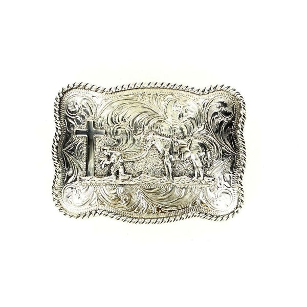 Crumrine Western Belt Buckle Rectangle Praying Antique Silver - 2 1/2 x 3 1/2