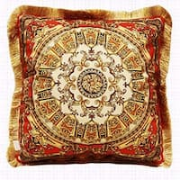 """Luxury Tangerine Gold Flower Pillow Embellished With Trim 20""""X20"""""""