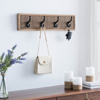 Rattan Weave 4 Hook Wall Decor - One Size