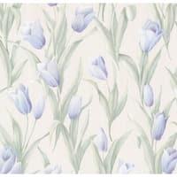 Brewster 347-20142 Denning Blue Satin Tulip Texture Wallpaper - N/A