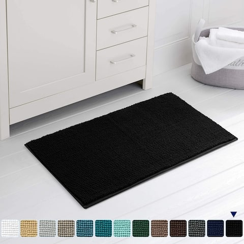 Subrtex Chenille Bathroom Rugs Soft Super Water Absorbing Shower Mats