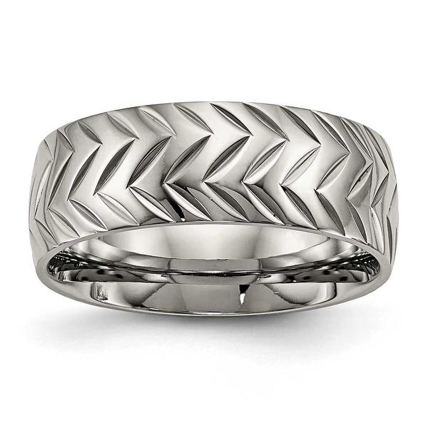 Titanium Polished Diamond Cut Ring (8 mm)