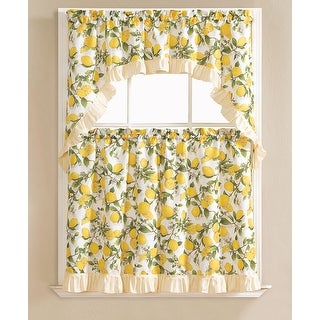 Beth Lemon Printed 3-Piece Kitchen Curtain Swag & Tiers Set, Beige, 60x36 & 30x36 - N/A