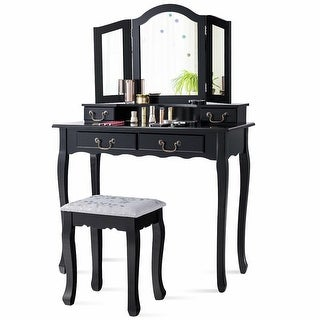Gymax Vanity Set Makeup Dressing Table Tri Folding Mirror Black Stool 4 Drawers Black